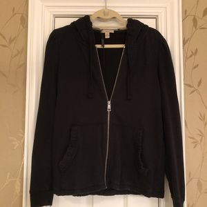 AUTHENTIC BURBERRY BLACK COTTON HOODED JACKET!